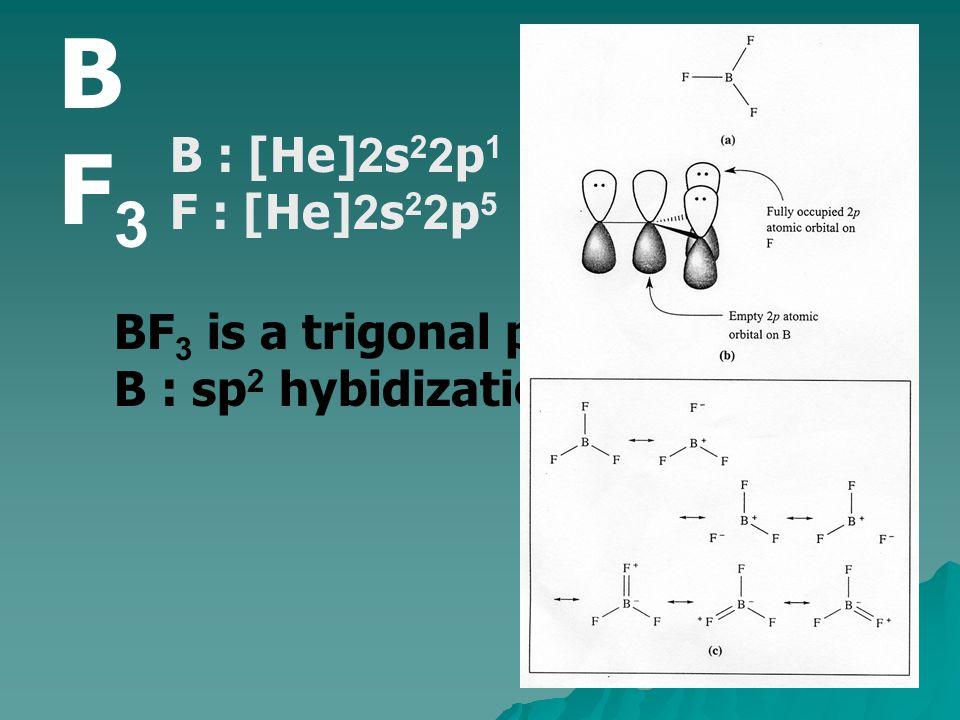 BF3 B : [He]2s22p1 F : [He]2s22p5 BF3 is a trigonal planar
